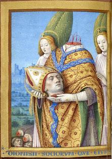 Saint Denis, par Jean Bourdichon et son atelier XVe siècle. (Source : BNF, ark:/12148/btv1b8453974s. Sous licence Domaine public via Wikimedia Commons - http://bit.ly/1I4TsJa)