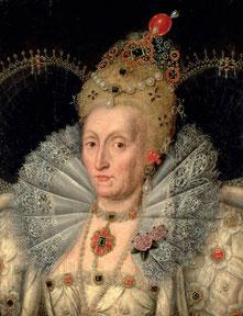 Königin Elisabeth Tudor I. in sehr hohem Alter, ca. 1600 (flickr, picture by Lisby) Mode im 16. Jahrhundert
