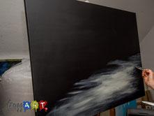 Der Hintergrund wird gemalt - Acrylmalerei