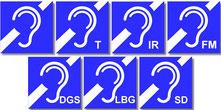 sieben Logos für Übertragungsanlagen