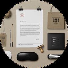 Ejemplo de diseño corporartivo: cartas, sellos, bolsas...