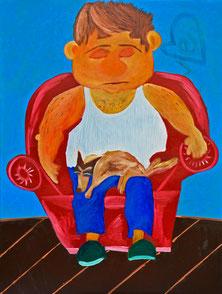 Mann, Hund, schlafen, Sessel, Acryl, Oil, Canvas, Divo Santino, Sleeper Duo, Ripphemd, Tierlieb, träumen, kleiner Hund, Schmetterlingshund, roter Sessel