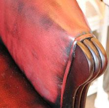 アームチェア ウイングチェア シェルバックチェア 一人掛け ソファ 椅子 おしゃれ 本革製 皮革 レッド 赤 Chair