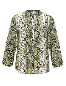 Bluse mit Leoprint grün gemustert runde Frauen Größe 42 bis 52