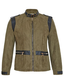 Blouson in Wildlederimitation, khaki Größe 50