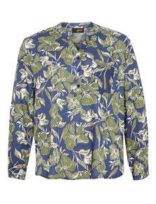 Bluse mit Blumendruck blau-grün dicke Frauen