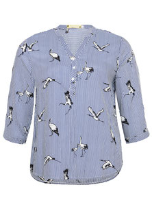 Bluse blau weiss Streifen für runde Frauen, Größe 42 bis 52