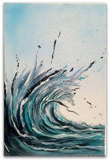 Ein Acrylbild auf Malkarton gemalt, eine abstrakte Welle online kaufen