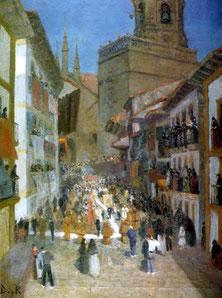 El Corpus en Fuenterrabía.Óleo sobre lienzo.120x90cm.Colección particular.Esta visión de la España tangible,ruidosa, piadosa,imágenes religiosas y campanas funerarias..tradición y fiestas.