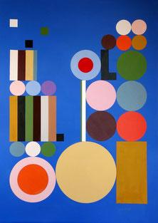 Ellen Roß: o.T., 2018, Collage, Vinyl auf Karton, 70 x 100 cm