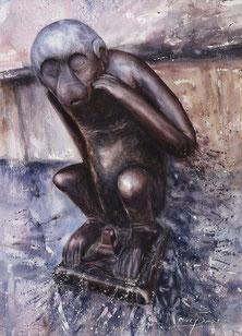 """Aquarelle 20 x 30 cm Reproduction """"Singe du Grand'Garde Mons""""   - 30€"""