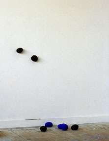 Matthieu van Riel. Wand- en vloerobjecten. Die Kartoffeln und das Atelier Schwarz Blau. Pigment en aardappelen 1996