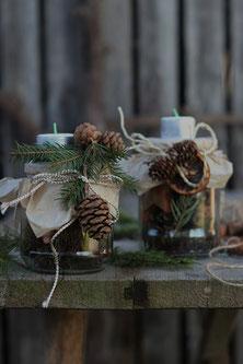 selbstgemachte Tischdeko für Weihnachten