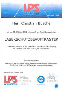 Laserschutz Zertifikat