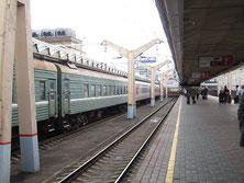 Zug im Moskauer Bahnhof