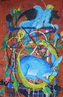 Lebensfaden mit blauem Kaninchen 2001