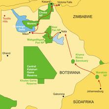 Botswana Lodgesafari von Maun bis zu den Viktoriafällen