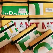 Upcycling, Recycling, Ideen Kundengeschenke, nachhaltige Werbeartikel, Mäppchen, Etuis aus alten Bannern und Planen.