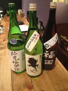 左から。宮城「綿屋倶楽部」、長野「今錦たま子」、長崎「福田」
