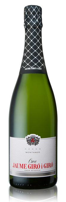 Flasche Cava Montaner Gran Reserva 2013, Jaume Giro i Giro, bio und vegan, organic, sparkling wine, high quality, Schaumwein, Expovina Silber 2018, Expovina Silver 2018