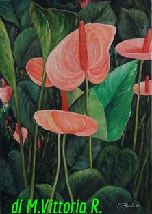 fiori anthurium, olio su tela cm 50x70, 2013