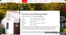Die eigene Webseite informiert über die Öffnungszeiten und Terminvergabe der Praxis
