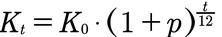 Formel für die Monatszinsen mit Zinseszins
