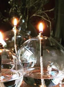 lampe à huile, olielamp, buiten lamp, bougie en verre boule, bougie boule verre, bougie en verre boule