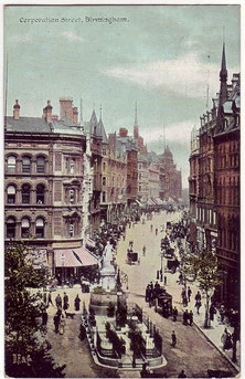 Corporation Street from Stephenson Place. Postcard from Our Past History - see Acknowledgements.