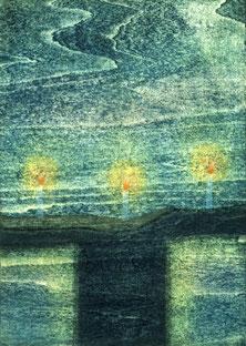 「静かな夜に」 木版画 A4