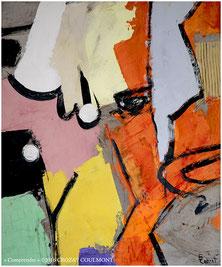 Abstraction- Oeuvre d'art originale unique (Enduit de chaux/ bois)- France Peintre
