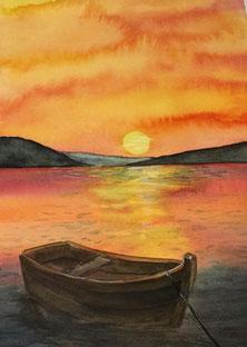 Sonnenuntergang am See Aquarell