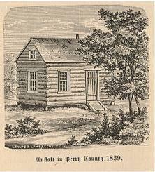 """Die erste """"Schul-Anstalt"""" in Dresden / Perry County, 1839"""