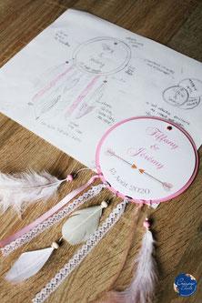 Cette image représente un faire-part format attrape rêve, thème bohème créé par Créapop Event sur Toulouse pour un mariage.