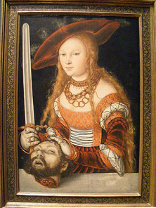 "Great cap worn with ""SAXON GOWN"", ""Judith and Holofernes"", Lucas Cranach the Elder (flickr, picture by John W. Schulze)"