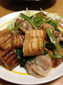 かくふと小松菜のチャンプルー(炒めもの)