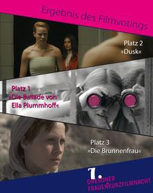 Die Ergebnisse des Filmvotings der Frauen*kurzfilmnacht. Platz 1: Die Ballade von Ella Plummhoff | Platz 2: Dusk | Platz 3: Die Brunnenfrau