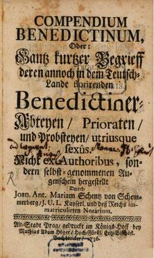 """Titelseite des """"COMPENDIUM BENEDICTINUM"""" (Bayerische Staatsbibliothek München: H.mon. 528)."""