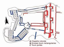 Plan Chastel-Pèlerin (dessin J. Mesqui d'après C.N. Johns).