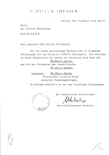 Hier der Vertrag von 1954 - Die Gage betrug immer noch 350 DM.