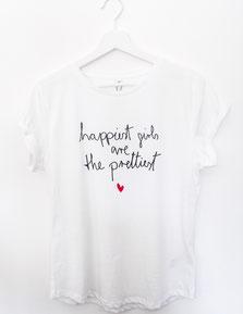 Shirt, happy, happiest girls, nachhaltig, biobaumwolle, fairtrade, handmade