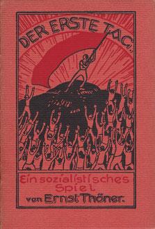 """Dieses """"sozialistische Spiel"""" führte der """"Vorwärts"""" 1929 anlässlich der Fahnenweihe am 29.6.1929 auf. Es handelt sich dabei um ein Sprechchorstück, in dem nur zwei Lieder gesungen werden: """"Wenn [sic!] wir schreiten..."""" und """"Die Internationale""""."""