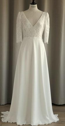 robe de mariée manches dentelle géométrique saint germain en laye