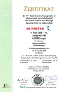 TÜO Zertifikat: DIN EN ISO 9001:2008