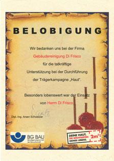 """Belobigung zur Unterstützung der Trägerkampagne """"Haut"""""""
