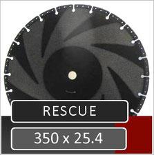 prodito slijpschijf voor brandweer en civiele bescherming 350mm voor gebruik op een benzine doorslijper met een opname van 25.4