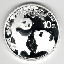 Investieren in das Edelmetall Silber China Panda 30 g (Vorderseite 2021)