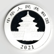 Investieren in das Edelmetall Silber China Panda 30 g (Rückseite 2021)