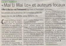 Article paru dans l'Avenir du 23 mai 2013