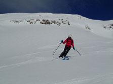 Top ski à la descente! Bernadette se régale...